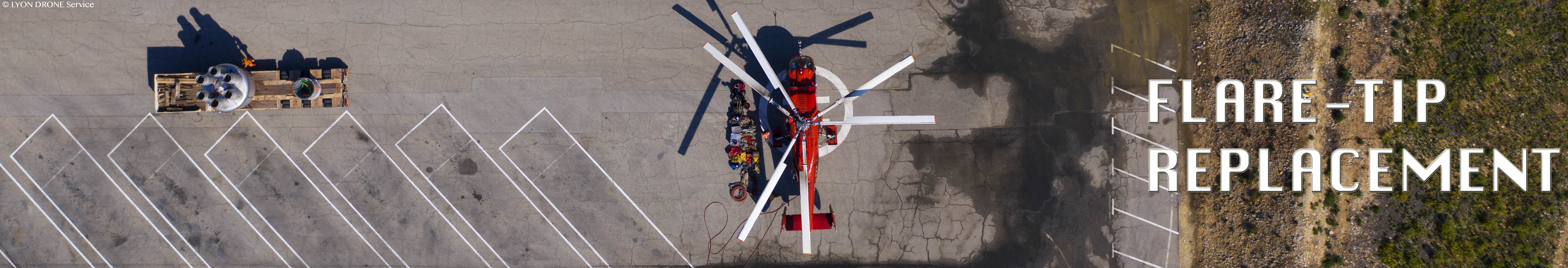 Helicopter flare-tip replacement and maintenance services. Heli-levage - lifting helicopter long line