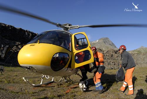 Transport du personnel sur le chantier par hélicoptère