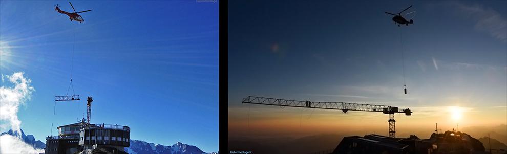 Montage d'une grue en montagne quelque fois en haute altitude. Montage grue lieu difficile d'accès